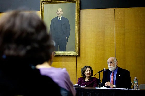 """The third John Harvard Book Celebration Lecture at the Boston Public Library featured Harvard doctors and best-selling authors Pamela Hartzband (from left) and Jerome Groopman, who tackled the topic """"Your Medical Mind: How to Decide When Experts Disagree."""""""