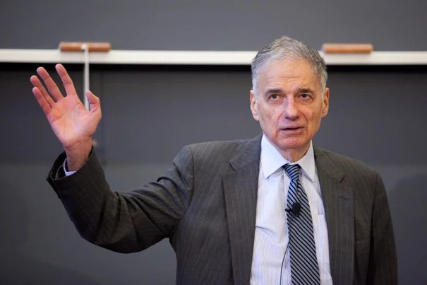 Ralph Nader told his Harvard Law School audience that the government and the American people have rationalized illegality because the country has gotten used to the military-industrial complex and the corporate state under which it has been operating for more than half a century.