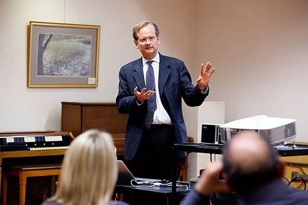 "Harvard Law School Professor Lawrence Lessig discussed his new book, ""Republic, Lost,"" at the Hyde Park Branch Library as part of the semester-long John Harvard Book Celebration."