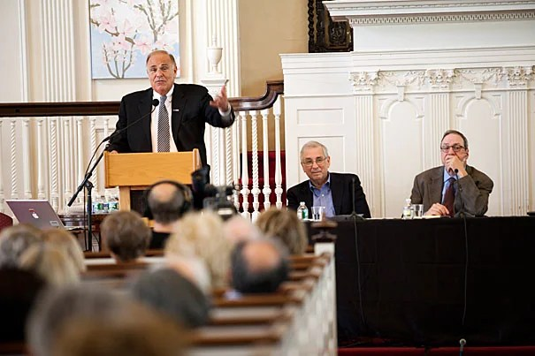 The battered American middle class was the topic addressed by Ed Rendell (from left), Frank Levy, and Joe Nocera at First Parish for the Harvard Institute for Learning in Retirement's 35th Anniversary Forum.