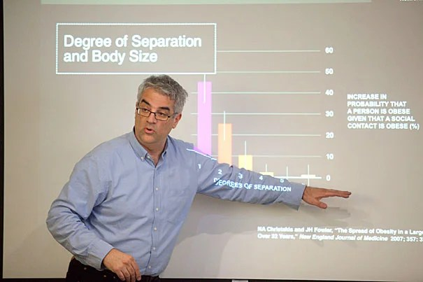 """""""I think the spread of germs is the price we pay for the spread of information,"""" said Nicholas Christakis, whose research has shown how everything from obesity to smoking to happiness spreads through social networks. """"The benefit of a connected life outweighs the cost,"""" he added."""