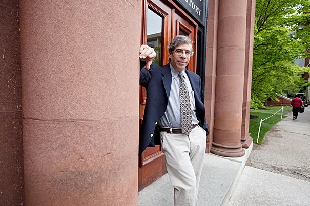"""""""If you live in a society that is dysfunctional and unhealthy, where people are doing better than you, you need solace from somewhere. You get it from religion,"""" said Jerry Coyne. """"The thing that blocks acceptance of evolution in America is religion."""" Coyne's talk, sponsored by the Harvard Museum of Natural History, was part of its """"Evolution Matters"""" lecture series."""