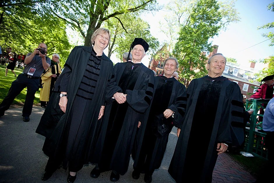 Four Harvard presidents led the procession, which began in the Old Yard. They are (from left) President Drew Faust, Derek Bok, Neil Rudenstine, and Larry Summers. Rose Lincoln/Harvard Staff Photographer