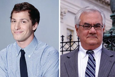 """""""The Senior Class Committee is thrilled to bring both Andy Samberg [left] and Congressman Barney Frank [right] to this year's Class Day ceremony,"""" said Matt DaSilva, chair of the Class Day subcommittee of the Senior Class Committee."""