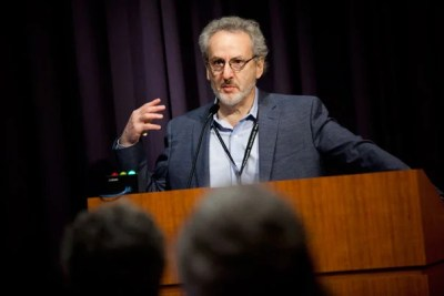 The annual symposium of the Wyss Institute for Biologically Inspired Engineering, held at Harvard Medical School, prompted a spirited discussion on robotics and medicine, with nature as a model. Donald Ingber (above), director of the Wyss Institute, introduced the daylong event.