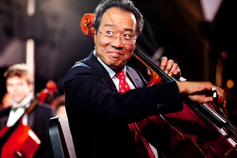 Cellist Yo-Yo Ma performs during the 375th celebration of Harvard University. Rose Lincoln/Harvard Staff Photographer