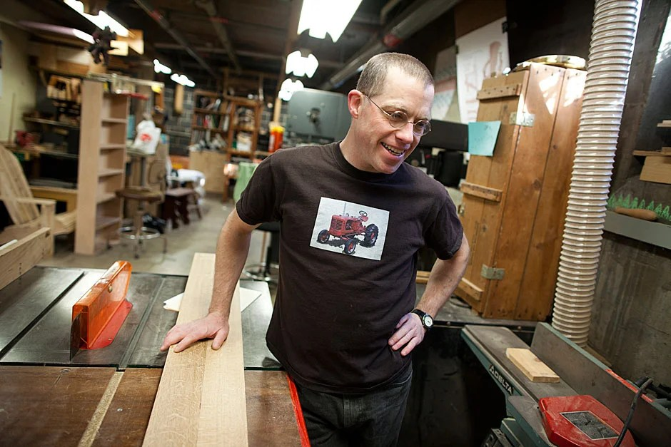 George Kenty manages the Eliot House Woodshop, where students come to create anything from doorstops to Adirondack chairs. Stephanie Mitchell/Harvard Staff Photographer