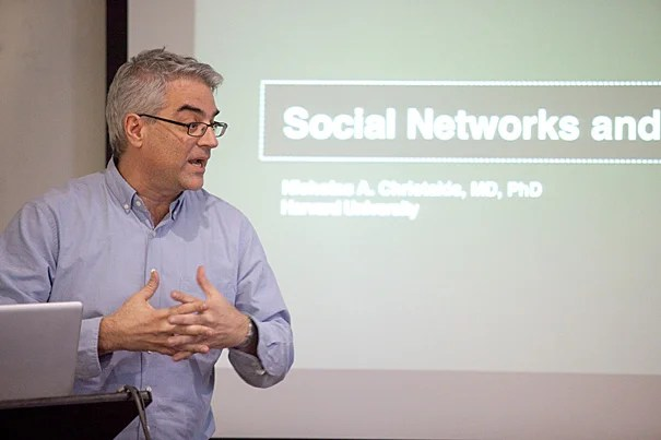 "Researchers are able to identify physician influencers, ""network leaders,"" simply by seeing which doctors are most ""central"" to a network, most connected by patient-sharing to other general practitioners, surgeons, and medical specialists. If ""network leaders"" can be found, then new medical information can be more easily disseminated among doctors, according to research led by Nicholas Christakis (pictured), a professor in the sociology department in the Faculty of Arts and Sciences, and of medical sociology at Harvard Medical School."