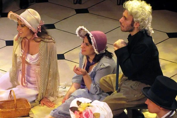 """Harvard-Radcliffe Summer Theatre actors Brenna McDuffie (from left), Zenab Tavakoli, Eli Kahnand, and Teis Jorgensen in the picnic scene from """"Emma."""" The student actors often practiced six hours a night, five nights a week, to bring a production to the stage of the Loeb Drama Center Experimental Theater."""