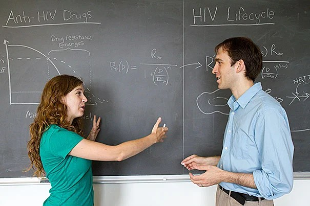 "Harvard's Alison Hill and Daniel Rosenbloom, along with Professor Martin Nowak (not pictured), have shown that the relationship between adherence to a drug regimen and resistance is different for each of the drugs that make up the ""cocktail"" used to control HIV. ""What we demonstrate in this paper is a prototype for predicting, through modeling, whether a patient at a given adherence level is likely to develop resistance to treatment,"" said Hill."