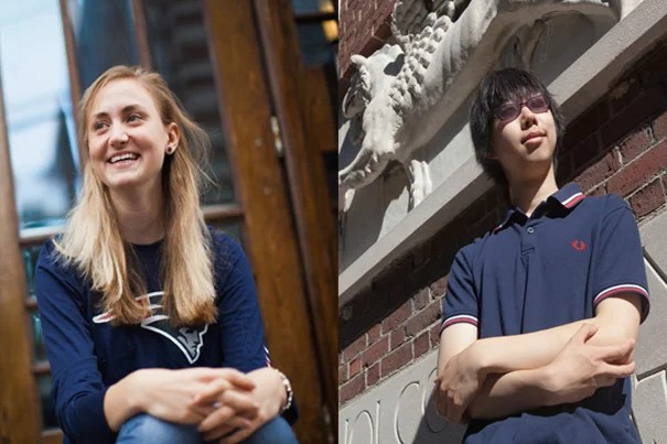 Freshmen Clare Goslant '16 and Colin Lu '16 represent the nearest and farthest distances traveled by new freshmen to start their academic careers at Harvard.
