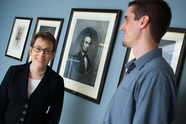 "Harvard Kennedy School Professor Jennifer Lerner (left) and Gary Sherman, a postdoctoral fellow in the Decision Science Lab, have released findings that indicate that leaders actually have lower stress levels than lower-ranking individuals. ""Our results indicate that the top dog has less stress as measured by baseline cortisol. That is quite surprising to some people,"" said Lerner."