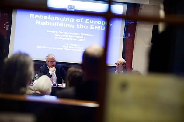 """""""I'm convinced that all this hard work will start bearing fruit in the not-too-distant future, and in fact the first signs are already visible,"""" said Olli Rehn, vice president of the European Commission, about progress in the wake of the Euro crisis."""