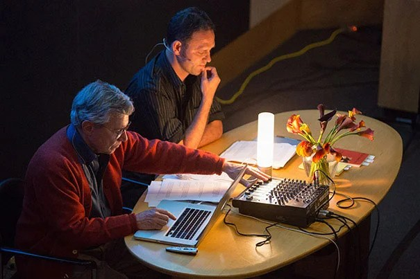 """Bernie Krause (left), author of """"The Great Animal Orchestra,"""" and Jonathan Skinner, poet and founding editor of Ecopoetics, perform a call-and-response poetic soundscape. See sidebar for audio examples."""