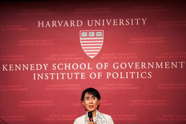 Burmese activist Aung San Suu Kyi, winner of the Nobel Peace Prize in 1991, delivered the Godkin Lecture and took questions from students last night at Harvard Kennedy School.