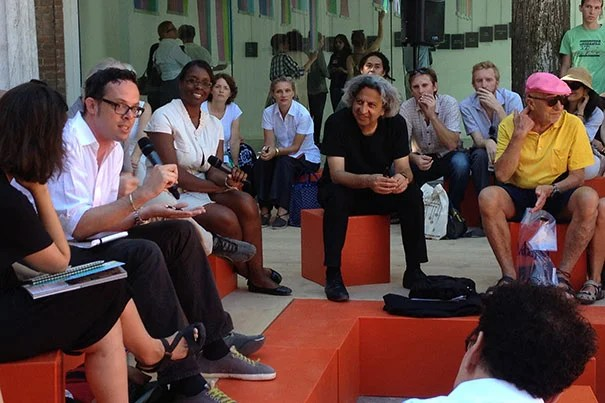 """Dean Mohsen Mostafavi (center, seated) played a prominent role at the Venice Biennale, a three-month contemporary architecture festival, where he unveiled one of the GSD's newest publications, """"Instigations: Engaging Architecture, Landscape, and the City,"""" a work developed by GSD and Lars Müller Publishers."""