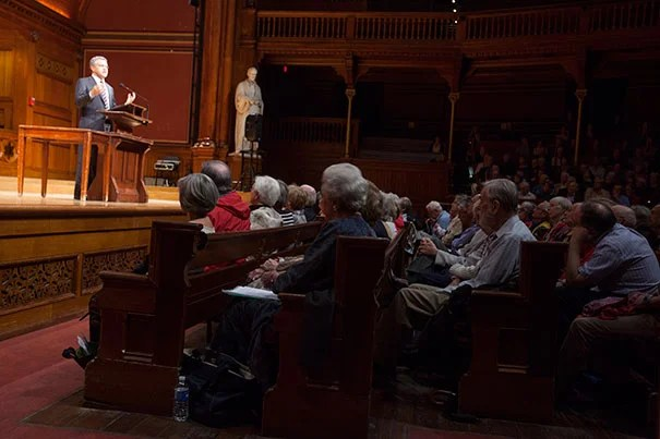 "Jeffrey Toobin traced the court's evolution over the past 40 years from a liberal body to one deeply divided along partisan lines with ""five Republicans and four Democrats."" ""If you remember one thing about the Supreme Court from my talk, one thing that matters, that's it,"" said Toobin, author of ""The Nine: Inside the Secret World of the Supreme Court."""