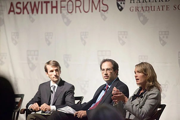 """Looking ahead, Celine Coggins (far right), founder and CEO of Teach Plus, said she envisions the president continuing to promote a national model that supports teaching as a performance-driven profession, one that """"puts the interests of the students first"""" and moves away from a system traditionally linked to seniority. Panelists Martin West (far left) and Jal Mehta, both assistant professors of education at Harvard, examined the complexities of programs and the attitude of voters."""