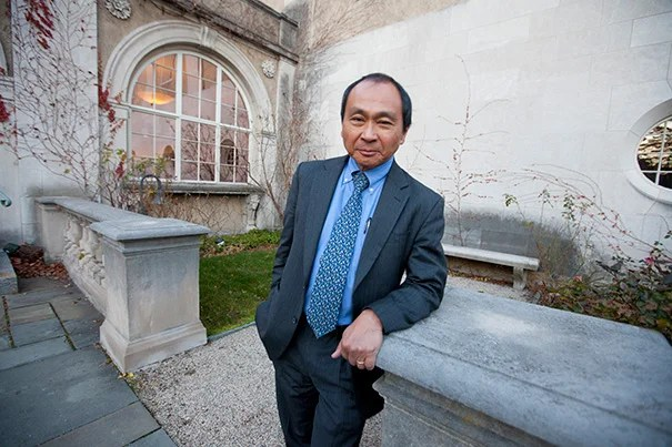 """Francis Fukuyama, who in 1992 famously predicted """"the end of history"""" because liberal democracies and free market economies suggested an endpoint in the evolution of government, spoke at the Minda de Gunzburg Center for European Studies in a kickoff session for a two-day workshop focused on European national identities."""