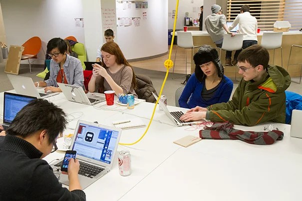 """During Hack Week, which was held at the i-lab, students regularly worked until 1 or 2 a.m. and pulled at least one all-nighter, Friday night's """"hack-a-thon"""" — a 9 p.m. to 6 a.m. push to help students finish their projects in time for """"demo day"""" on Sunday."""