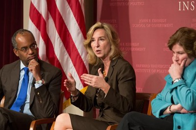 """If you consider yourself a conservative, we think you're a conservative,"" said Kerry Healey (center), a former Massachusetts lieutenant governor. The party likewise needs to find a way to welcome moderate Washington officeholders, whose ranks are diminishing to the point of extinction with recent departures from Congress, she added. Joining Healey were Ron Christie (left) and Karen Hughes."