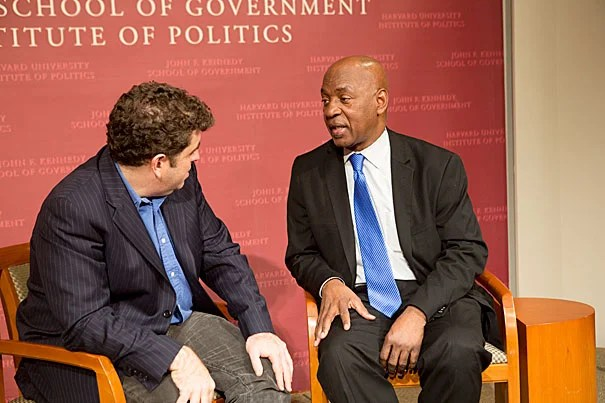 """""""The House I Live In"""" writer-director Eugene Jarecki (left) took care in the film, and during the Q-and-A, to describe the issue of the war on drugs not as one of race, but class. Jarecki was joined by Professor Charles J. Ogletree during the post-viewing discussion."""