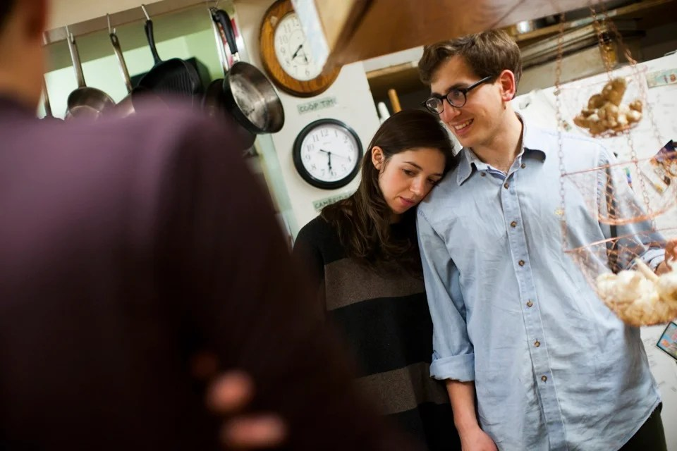 Amanda Hameline '12, a guest of the co-op, and Alex Traub '13 share a moment in the kitchen.