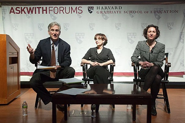 "Richard Weissbourd (left), director of the Human Development and Psychology Program at the Harvard Graduate School of Education, said an important part of the solution to bullying involves creating social norms where kids ""don't feel powerful degrading other kids — they feel powerful including other kids."" Also speaking at the Askwith Forum were authors R.J. Palacio (center) and Emily Bazelon."