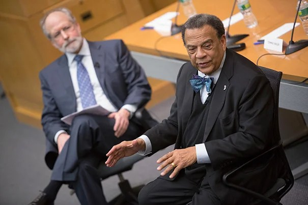 "Andrew Young (right) agreed that Martin Luther King Jr. was out of the ordinary, the single prophet and demonstrably great man in the movement. ""There was nothing that special about us,"" he said of the rest, adding his daughter's description: ""You all were just some get-down men, who happened to be in the right place at the right time, and you did the right thing."" Sharing in the panel discussion was Barnard College sociologist Jonathan Rieder (left)."