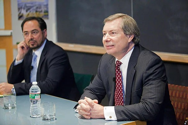 """""""We are under no illusions that this will be easy, but substantial gains have been made,"""" said Afghan diplomat Salahuddin Rabbani (left) in a conversation with James Warlick (right), the U.S. deputy special representative for Afghanistan and Pakistan."""