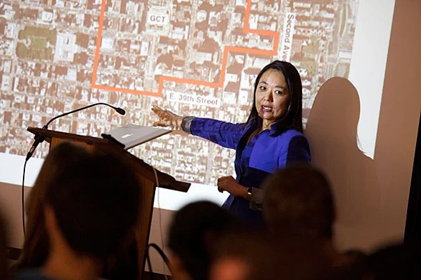 During a talk at the Graduate School of Design, Director of the Manhattan office of the New York City Department of City Planning Edith Hsu-Chen, M.U.P. '97, described a plan to revamp a 70-block area around Grand Central Station to allow for structures twice as tall.