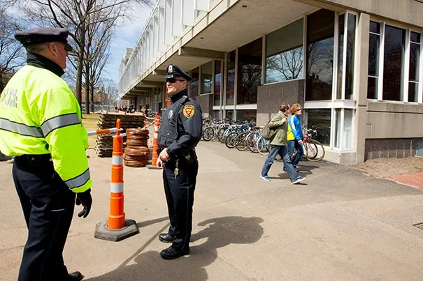 After the Boston Marathon bombing on Monday, members of the Harvard University  Police Department (HUPD) immediately increased their presence on campus. Some HUPD officers faced dangers on Thursday's overnight shift, as they joined a multiagency car chase through Cambridge and Watertown that ended in a gun battle with the suspected marathon bombers.