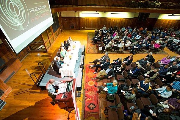 "A panel of experts met Tuesday in front of a capacity crowd at Radcliffe Gymnasium. ""The Humanities and the Future of the University,"" convened by the Mahindra Humanities Center and funded by the Office of the President, explored ways of reviving interest in the reflexive and analytical disciplines that make up humanistic study."