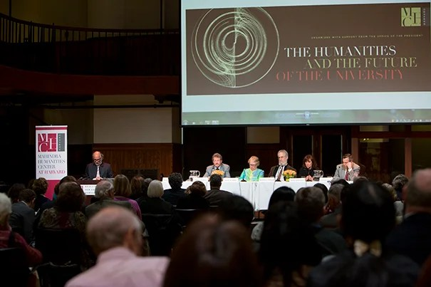 """A panel of experts met in early May for """"The Humanities and the Future of the University."""" Convened by the Mahindra Humanities Center and funded by the Office of the President, the discussion explored ways of reviving interest in the reflexive and analytical disciplines that make up humanistic study."""