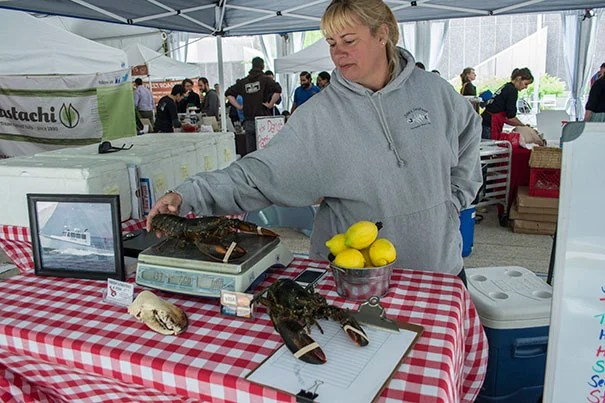 Carolyn Manning runs C&C Lobster out of Hull, Mass., and brings fresh seafood, most notably lobsters, to the Farmers' Market at Harvard.