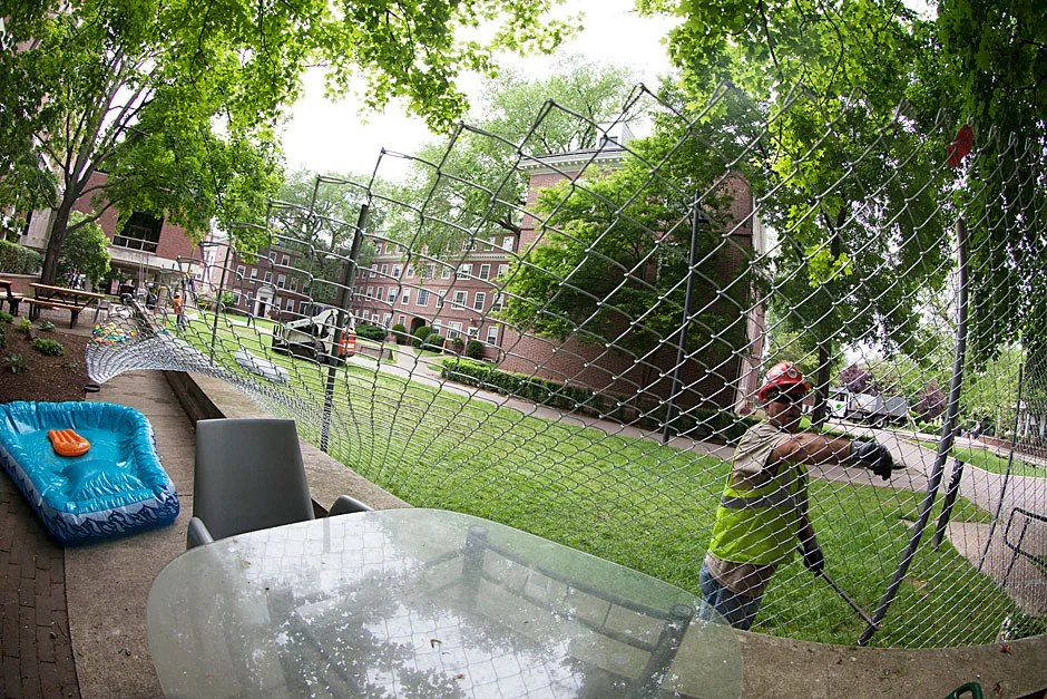 Fisheye views of Quincy House construction at Harvard. Kris Snibbe/Harvard Staff Photographer