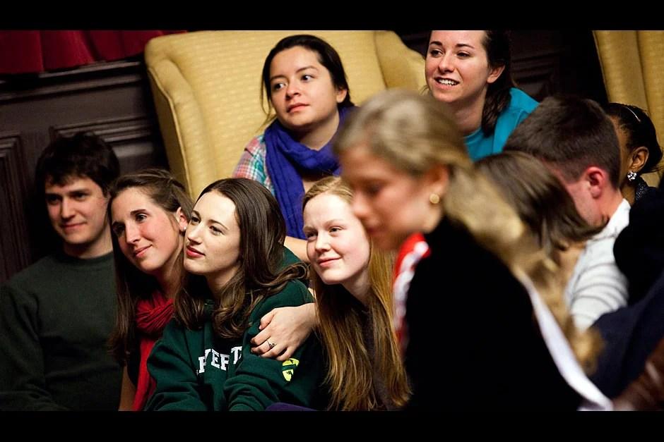 Winthrop residents watch their fellow Housemates' performances. Stephanie Mitchell/Harvard Staff Photographer