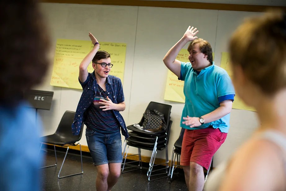 Local students Malcolm Cuetara (from left) and Max Gustafson work on some dance moves.