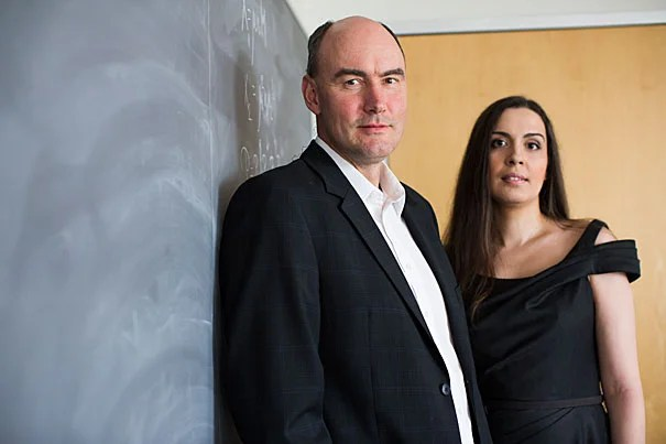 Harvard Professor Martin Nowak (left) and Ivana Bozic, a postdoctoral fellow in mathematics, are the co-authors of a recent paper that lays out a possible method for curing cancer. Their research shows that using two drugs, in certain circumstances, could eliminate the disease.