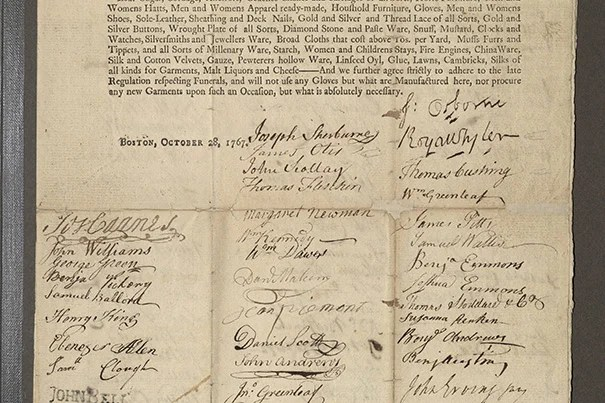 Signatures on the boycott petition included merchants such as Joseph Sherburne and Royall Tyler; soon-famous patriots like midnight rider William Dawes and — in a portrait — Bunker Hill hero Joseph Warren; and dozens of Boston's unsung future revolutionaries: women.
