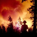 """""""When you get a large temperature increase over time, as we are seeing, and little change in rainfall, fires will increase in size,"""" said researcher Loretta J. Mickley. A graphic depicts the projected increase of fires in the western United States by 2050 (courtesy of Xu Yue). Firefighters are currently battling dozens of fires in at least 11 states."""