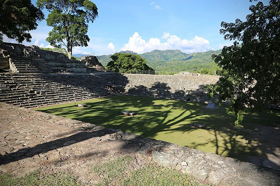Late afternoon shadows frame the east court of the Copán acropolis.