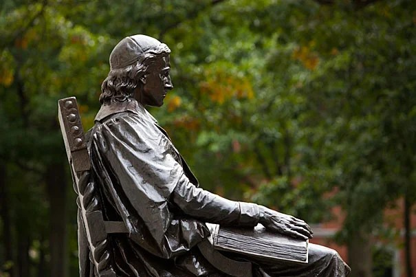 """What else do you do when you come to Harvard Yard? Everybody you know has a picture in front of the statue,"" said 300th Anniversary University Professor Laurel Ulrich, who is looking closely at the John Harvard Statue in her class ""Tangible Things: Harvard Collections in World History."""