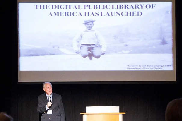 Robert Darnton, Carl H. Pforzheimer University Professor and University Librarian, spoke at the opening reception of the Digital Public Library of America (DPLA) at the Boston Public Library last week (photo 1). David Weinberger of the Harvard Library Innovation Lab (photo 2) explained StackLife, a digital browsing tool developed at Harvard that allows a user to see at a glance the popularity of a given book, to Amanda Page, a library assistant at Countway Library.