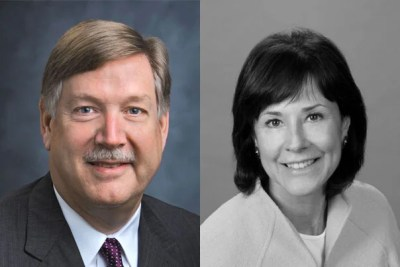 Recipients of the Harvard Alumni Association Awards are Stephen W. Baird '74 (left, photo 1), Mary McGrath Carty '74 (right, photo 1), Sylvia Chase Gerson '70, Ph.D. '75 (left, photo 2), Carl J. Martignetti '81, M.B.A. '85 (right, photo 2), Peter D. Weldon '59 (left, photo 3), and George H. Yeadon III '75.