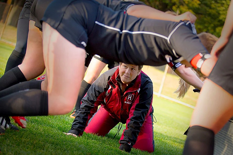 Assistant coach Sue Whitwell observes the underside mechanics of the scrum.