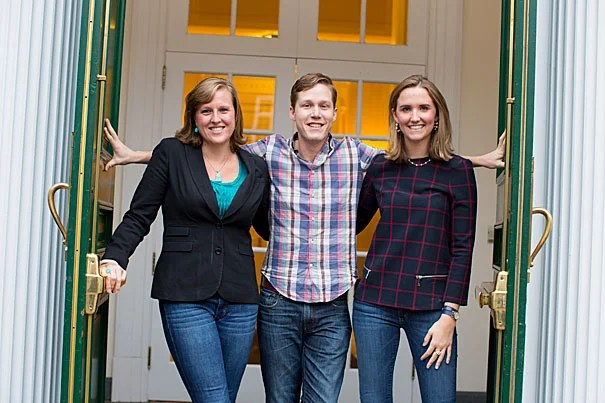 "Harvard Business School students Amanda Burlison (left) and Alexandra Daum are co-presidents of the Women's Student Association, which has now begun including male members, known as ""manbassadors,"" like Daniel Samit (center). ""One of our goals is absolutely to give an outlet to men who are passionate and interested in getting involved,"" said Burlison."