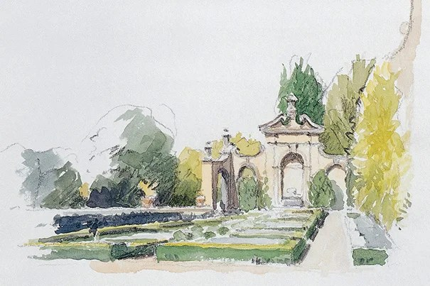 """""""The Hanging Gardens at Villa I Tatti"""" is among many Steve Ziger watercolors illustrating the oral history site (photo 1). Bernard Berenson, in 1903, stands in front of a favorite painting (photo 2). The Berenson library was a coveted refuge for visitors (photo 3)."""