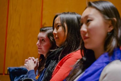 """""""Harvard is doing a lot to encourage women to get into technology,"""" said Amy Yin '14 (center, photo 1), co-founder of Harvard Women in Computer Science, which sponsored the event. During her keynote address, ThoughtWorks chief technology officer Rebecca Parsons (photo 2) pointed out that """"women bring a different perspective to solving problems,""""  noting the remarkable progress toward inclusiveness in her three decades in the field, but not denying there was work still to be done. Echoing the positive notes of progress, SEAS Professor David C. Parkes (center, photo 3) said that women filled 37 percent of the seats in Harvard's introductory programming course this year — an all-time high."""