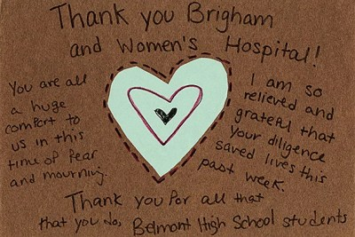 """In addition to the emergency response, the """"Strong Medicine"""" archive captures the emotional support shown by many from around the country. """"Thank You"""" was created by students at Belmont High School in Massachusetts (photo 1); a card from the Muslim American Society, San Antonio Chapter, sent """"brightest wishes, to say that we hope you get well soon"""" (photo 2); and """"Pray for Boston"""" included a handmade card from a student at Ojeda Middle School in Austin, Texas (photo 3)."""